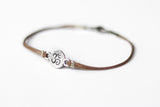 Silver Om charm bracelet for men, brown cord, personalised custom color and size, yoga bracelet