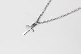 Silver cross necklace for men, stainless steel chain necklace, waterproof - shani-adi-jewerly