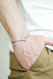 Bracelet for men, stainless steel clover charm, gray cord, waterproof bracelet
