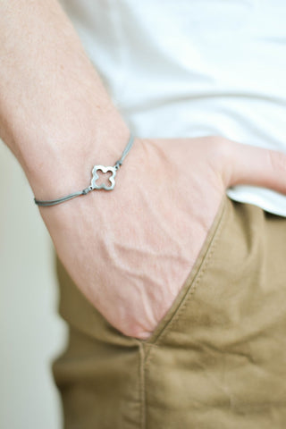 Bracelet for men, stainless steel clover charm, gray cord, waterproof bracelet - shani-adi-jewerly