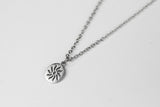 Silver sun necklace for men, stainless steel chain necklace - shani-adi-jewerly