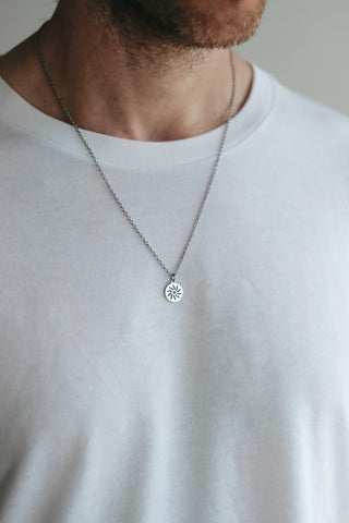 Silver sun necklace for men, stainless steel chain necklace