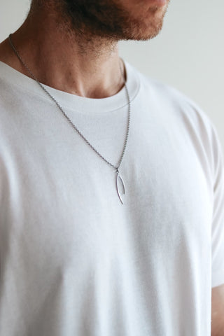 Silver Wishbone necklace for men, stainless steel chain necklace