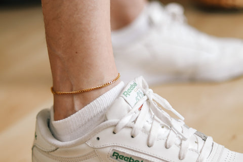 Waterproof gold tone chain anklet for men, minimalist mens ankle bracelet