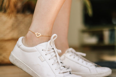 Heart anklet, waterproof gold chain ankle bracelet, custom length