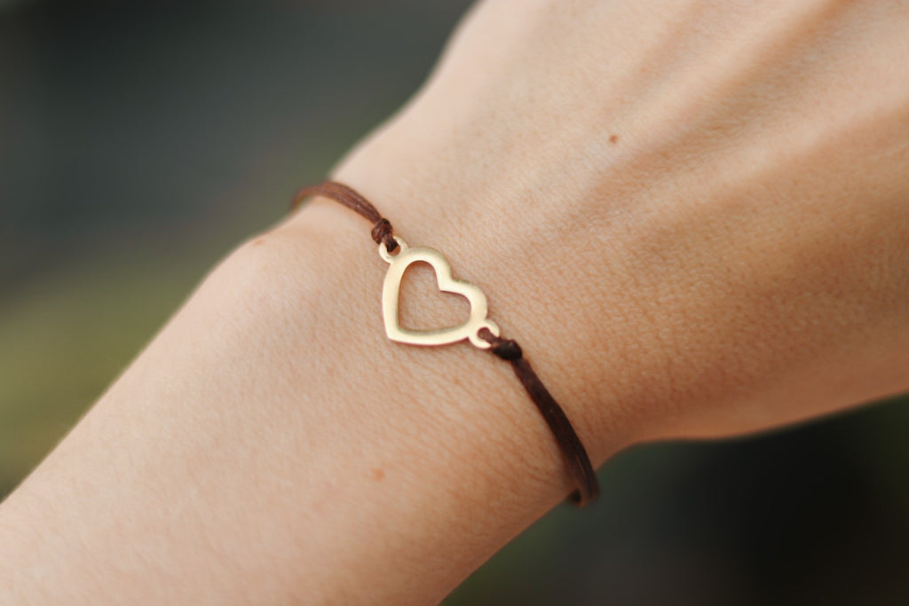 Gold heart bracelet, brown cord, personalised jewelry, waterproof