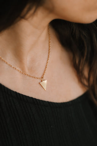 Gold triangle necklace, small triangle pendant, stainless steel chain necklace, bridesmaids gift for her, geometric, Layering necklace