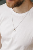 Half moon necklace for men, silver chain, gift for him, upside down crescent moon necklace, waterproof jewelry