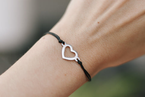 Silver heart bracelet, black cord, personalised jewelry, waterproof