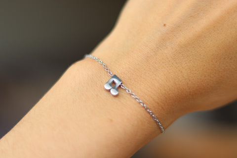 Music note bracelet, waterproof silver chain bracelet, tiny music note charm bracelet, gift for her