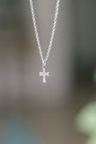 Cross necklace, women necklace with silver cross charm, christian catholic jewelry, waterproof chain, gift for her, customisable size, girl