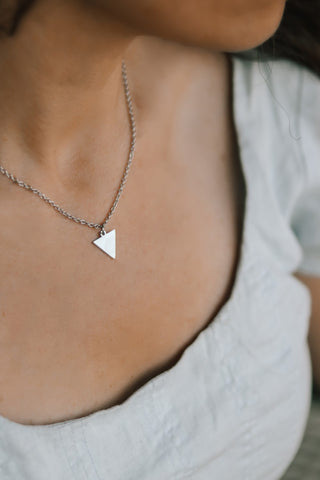 Silver triangle necklace, small triangle pendant, waterproof chain necklace, bridesmaids gift for her, geometric, geometric necklace, girl