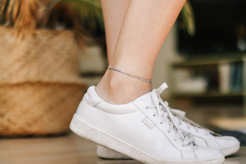 Silver tone chain anklet, waterproof ankle bracelet, gift for her