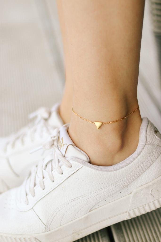 Triangle anklet, waterproof gold ankle bracelet, tiny triangle, personalised jewelry