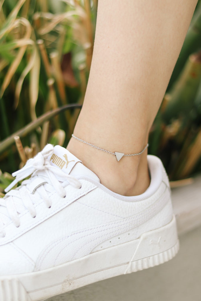 Triangle anklet, waterproof silver chain ankle bracelet, tiny triangle, personalised jewelry