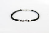 Bracelet for men, silver double rhombus bracelet for him, black cord - shani-adi-jewerly