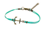 Cord bracelet with a bronze anchor charm, turquoise string - shani-adi-jewerly