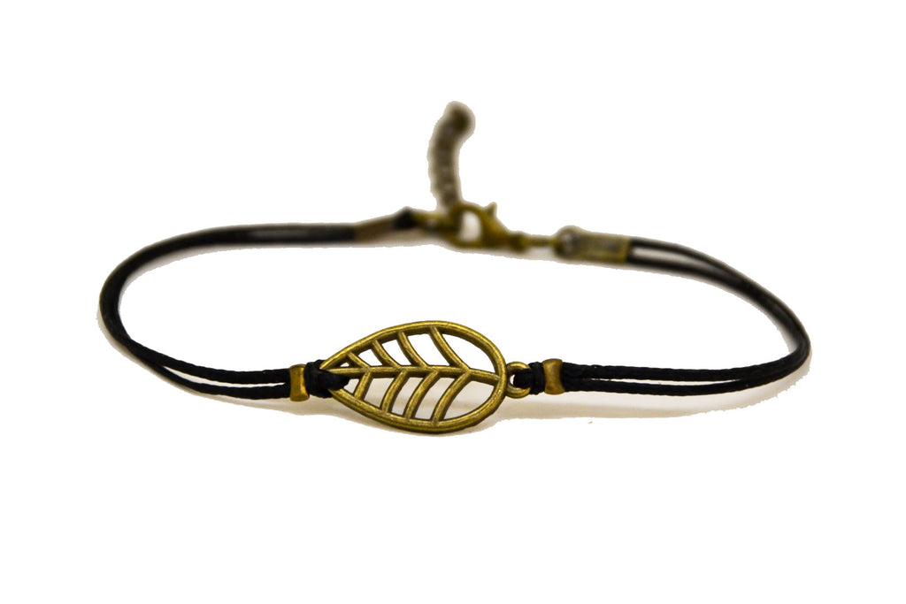 Black leaf bracelet, black cord - shani-adi-jewerly