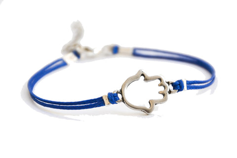Blue cord bracelet with a silver hamsa charm