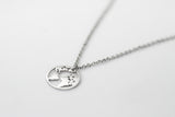 Silver world map necklace for men, waterproof chain necklace