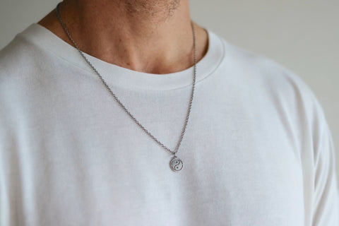 Silver Yin Yang necklace for men, stainless steel chain necklace