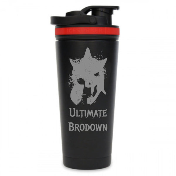 Ultimate Brodown Edition 26oz Ice Shaker Bottle-Black/Red