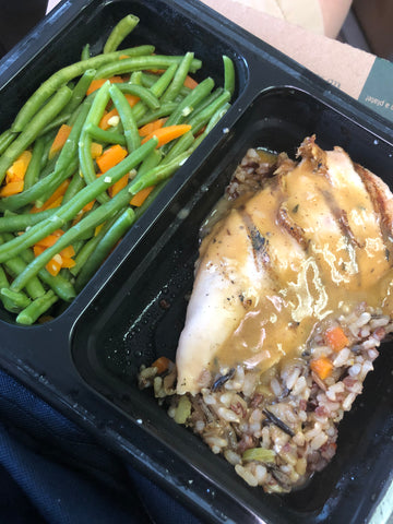 Chicken rice and green beans