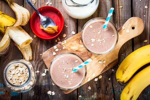 healthy breakfast with protein shakes