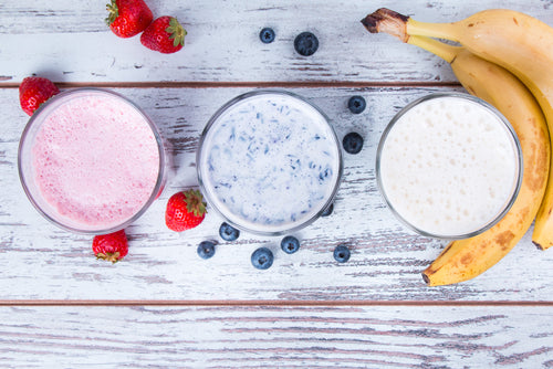trio of protein powder smoothies