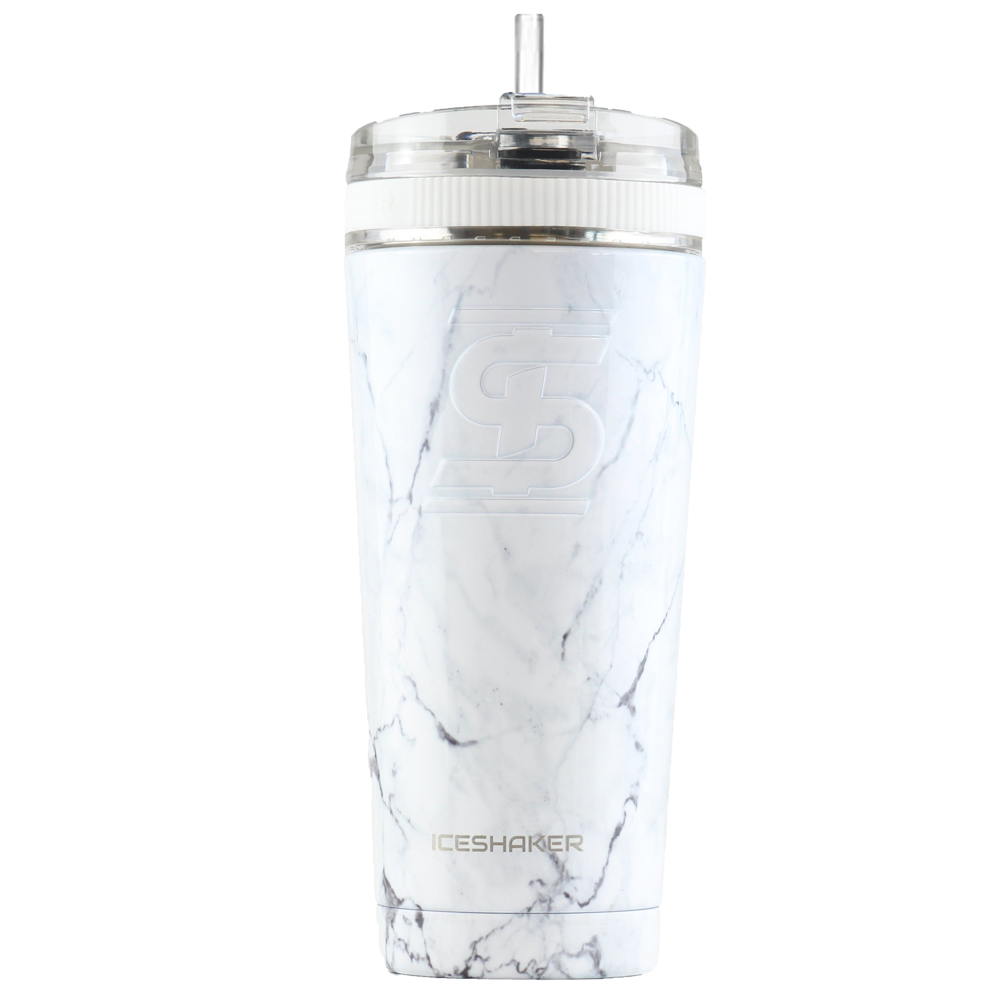26oz White Marble w/ Flex Lid