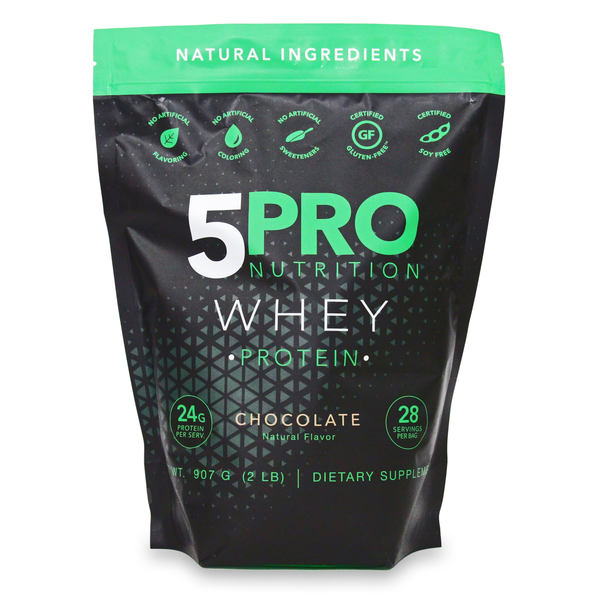 5PRO Natural Whey Protein - Chocolate - 2Lbs