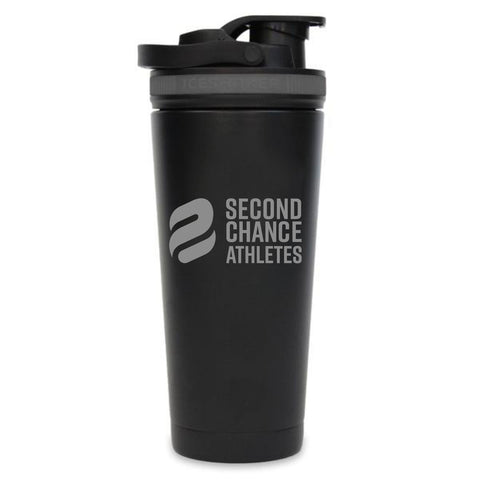 Second Chance Athletes - Custom 26oz Ice Shaker Black/Grey Band
