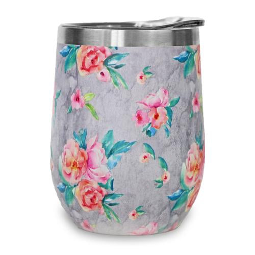 12oz Stemless Wine Tumbler - Grey Floral