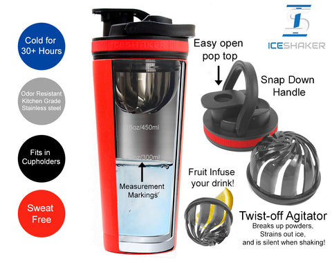 26oz Black Ice Shaker - Red Bands