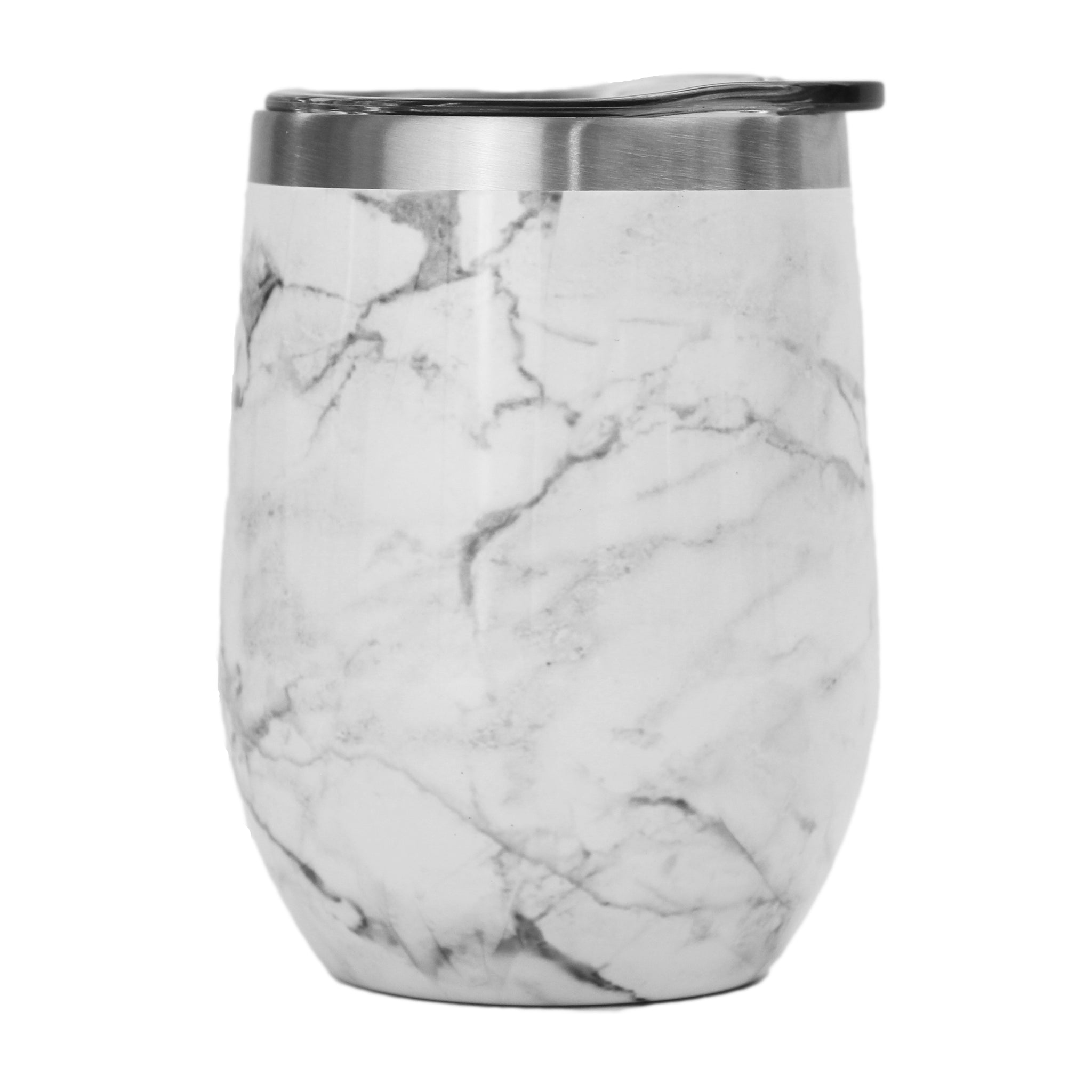 12oz Stemless Wine Tumbler - White Marble