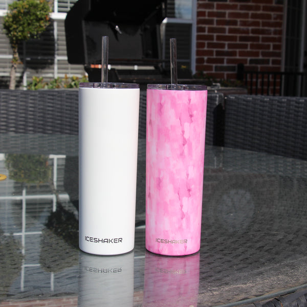 20oz Pink Water Color Skinny Steel Tumbler