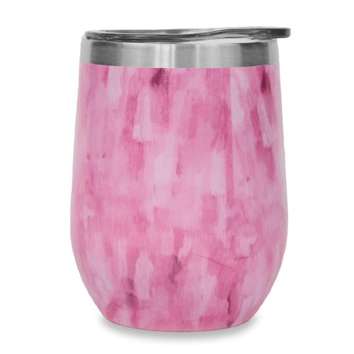 12oz Stemless Wine Tumbler - Pink Water Color