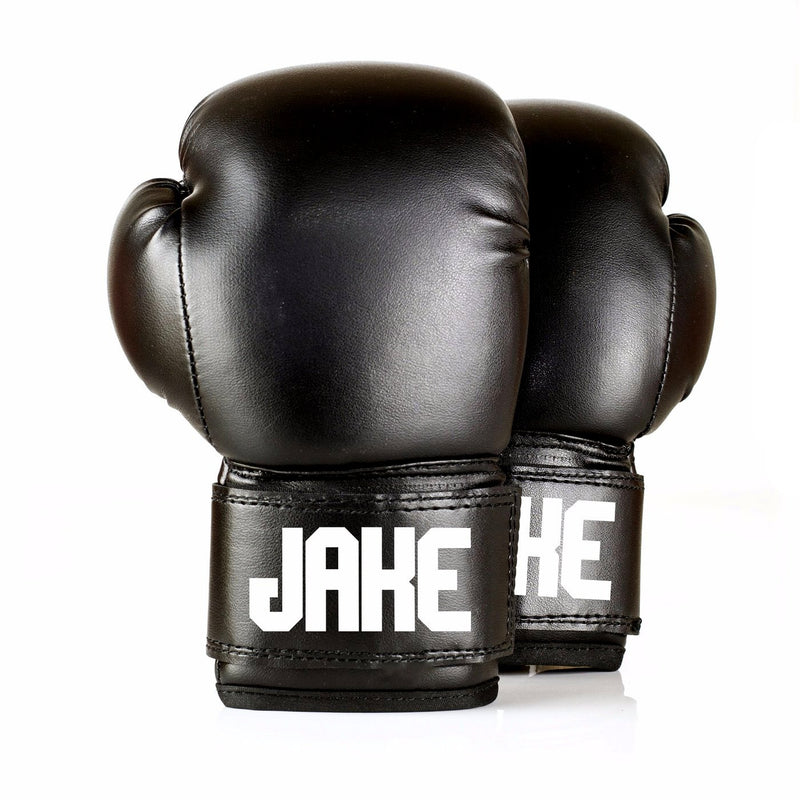 Full Leather Kids Personalised Boxing Gloves - Black
