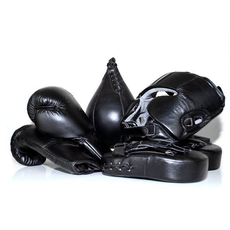 Full Leather Boxing Glove Set - Black