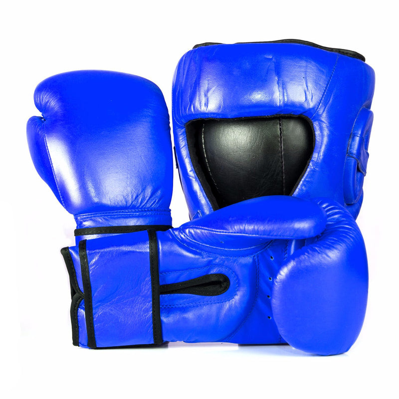 Full Leather Boxing Glove & Head Guard Set - Blue