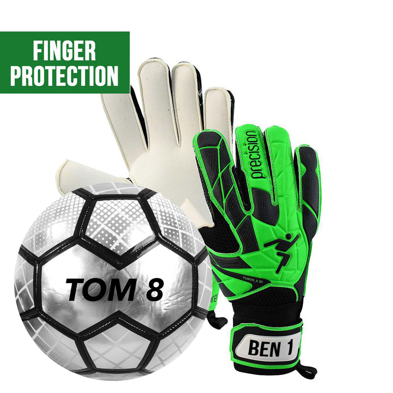 Personalised Ball & GK Glove Combo Set 1 - Green/Black (Finger Protection)
