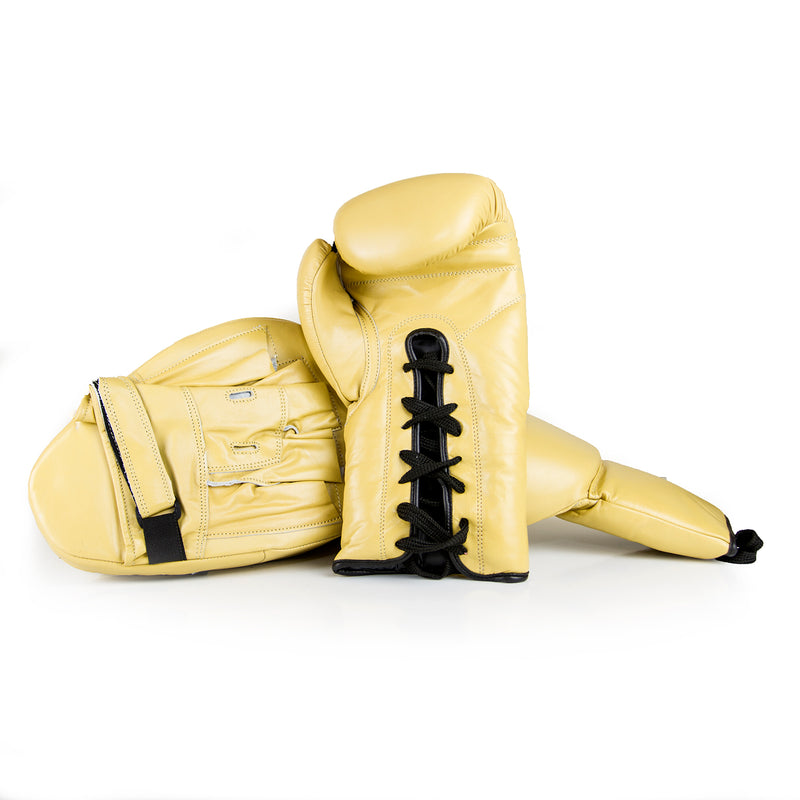Full Leather Boxing Glove & Focus Pad Set - Cream