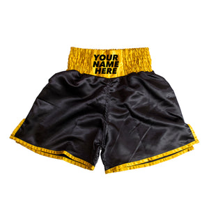 Personalised Boxing Shorts - Black/Gold Mens