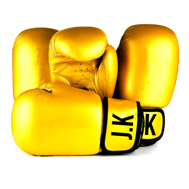 Personalised Adults Boxing Gloves - Gold Synthetic Leather