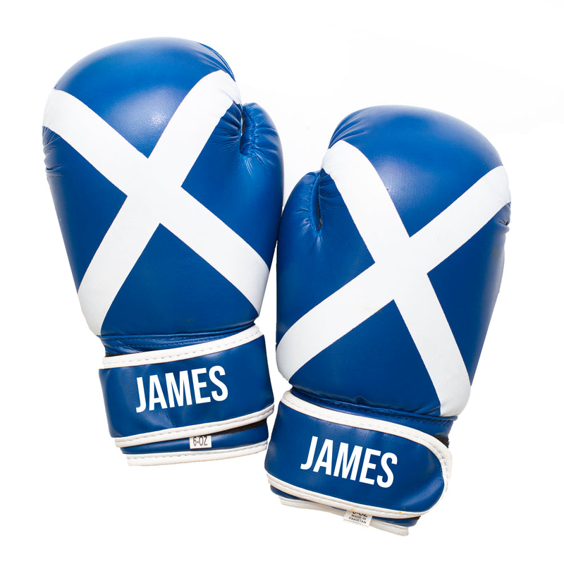 Personalised Kids Boxing Gloves - Scotland Flag