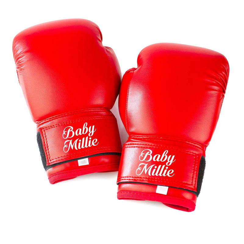 Full Leather Kids Personalised Boxing Gloves - Red