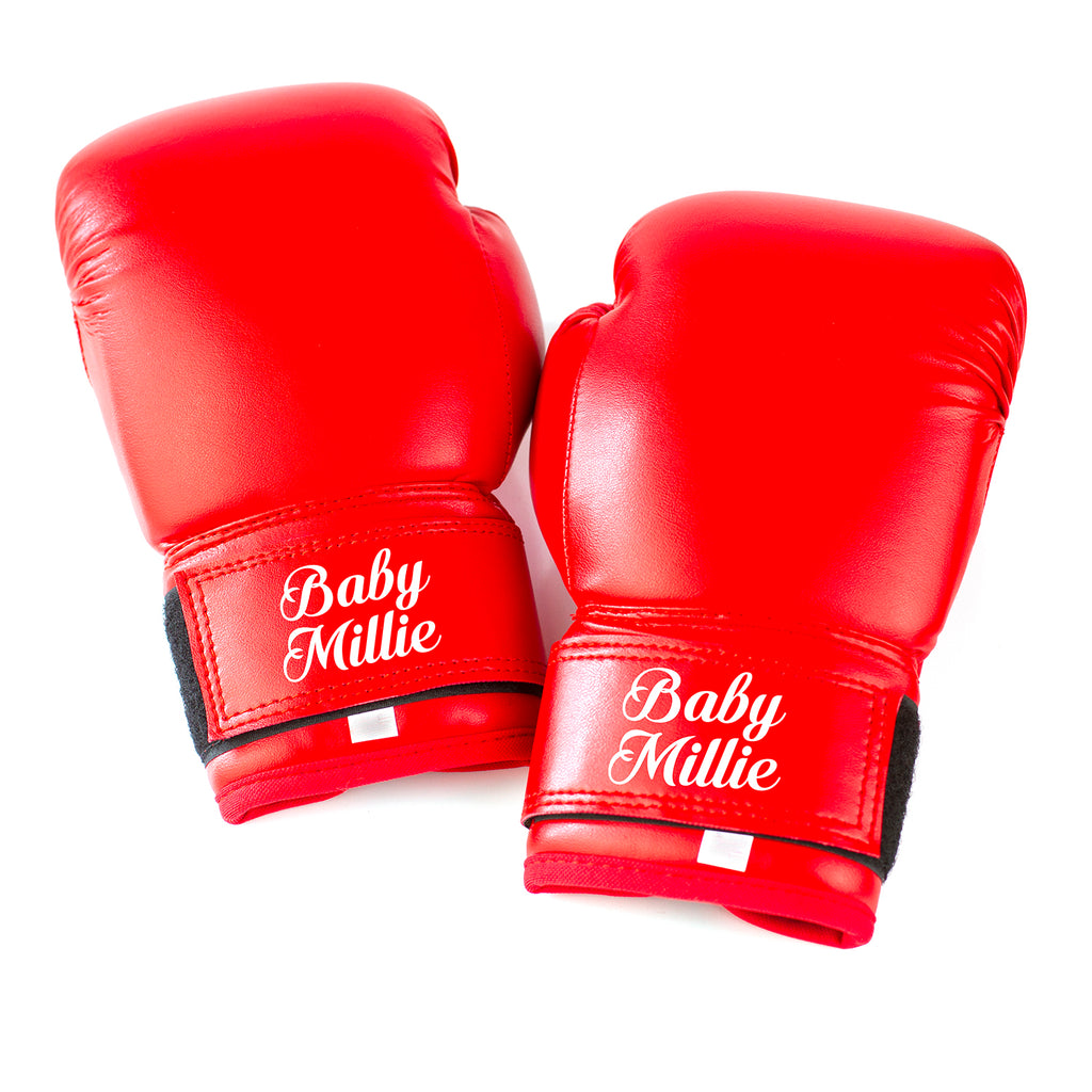 Kids Personalised Boxing Gloves - Red