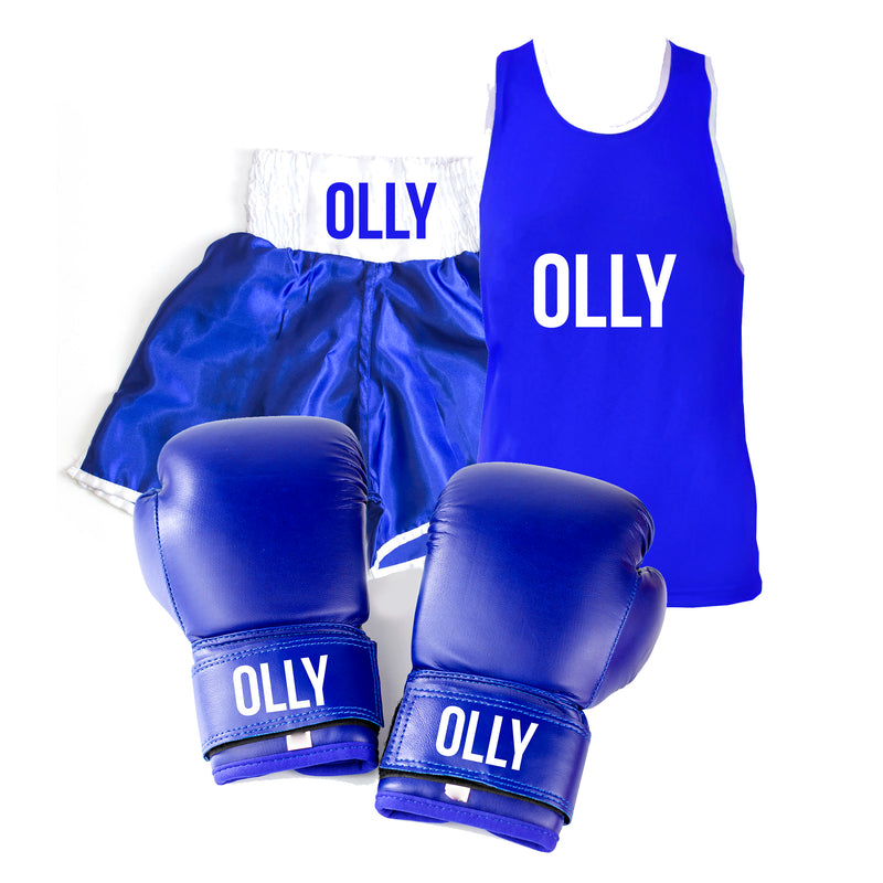Personalised Boxing Glove Gear Set Kids - Blue