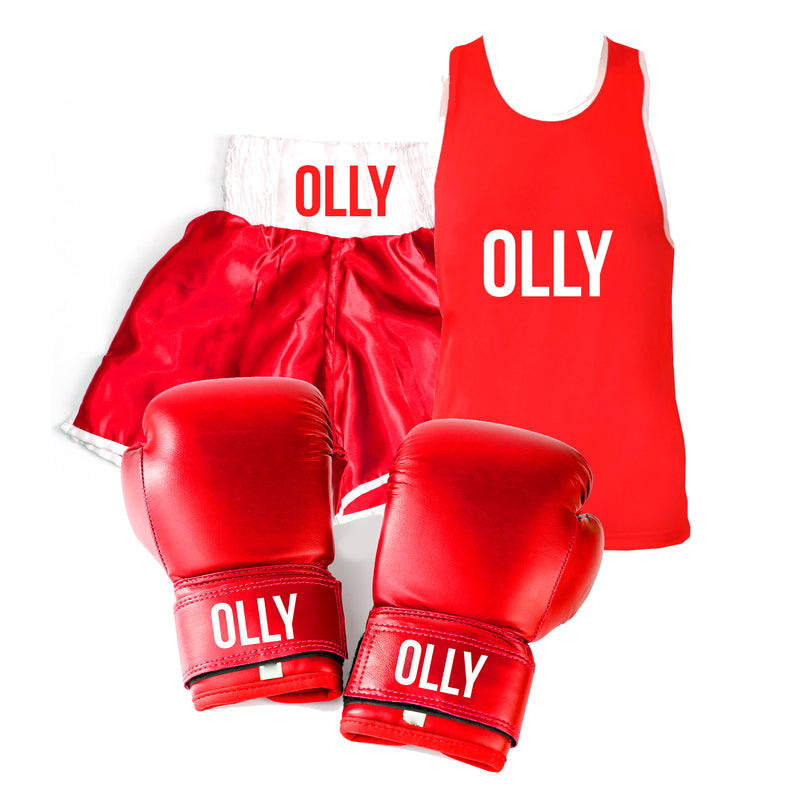 Personalised Boxing Glove Gear Set Kids - Red