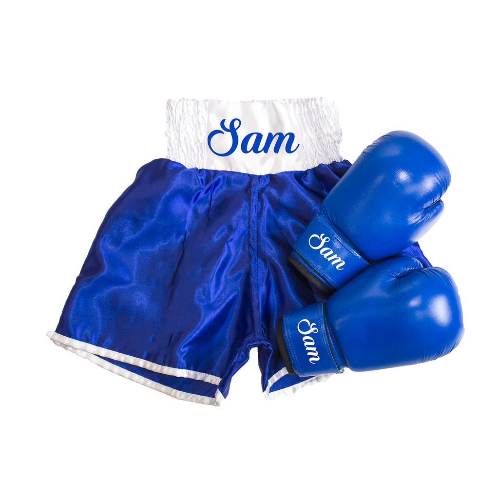 Kids Personalised Boxing Shorts & Glove Set - Blue/White